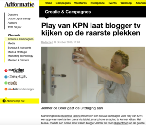 social media, adformatie, Play van KPN, influencer marketing, Youtube, Facebook, Jelmer de Boer