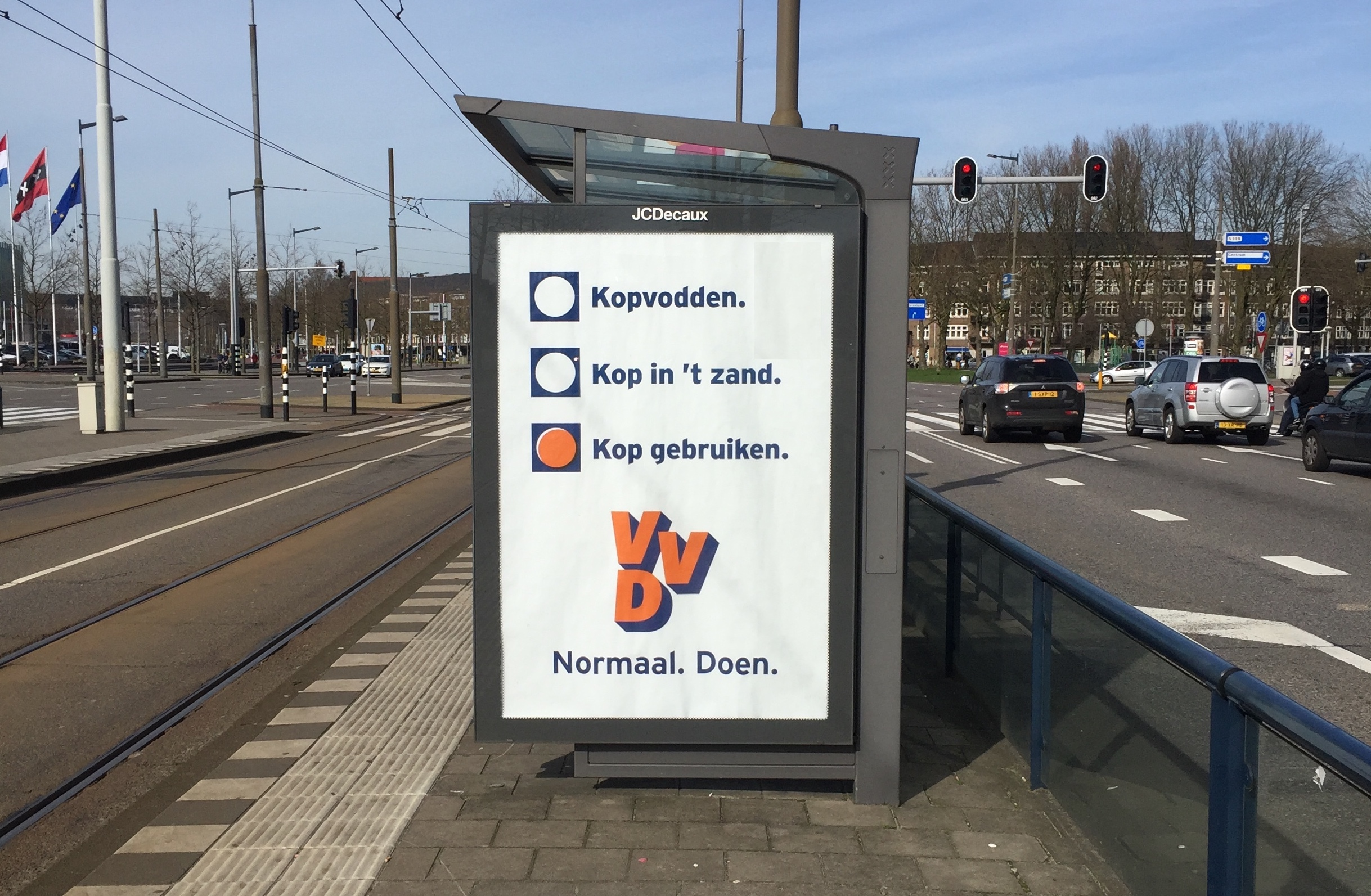 VVD, marketingcampagne, verkiezing, D66, Rutte, optimist