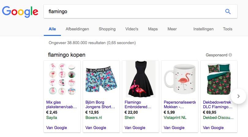 zoekterm flamingo, google